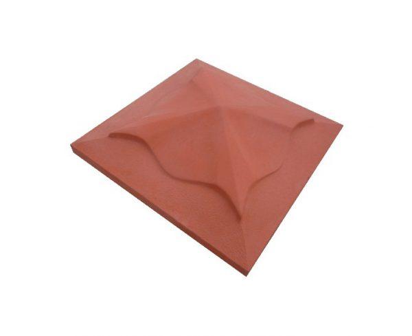 Бетонная крышка на столб 450х450мм медуза красная