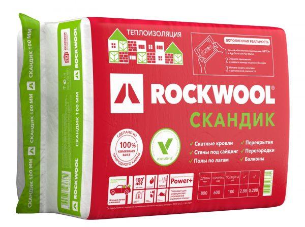 Теплоизоляция из каменной ваты ROCKWOOL Скандик 100мм